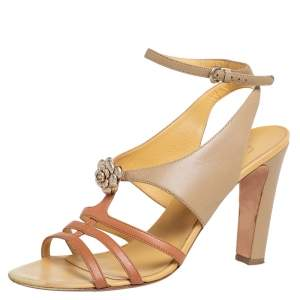 Chanel Two Tone Camellia Leather T-Strap Sandals Size 42