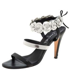 Chanel Black/Silver Leather Camellia Open Toe Ankle Strap Sandals Size 41