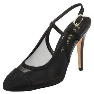 Chanel Black Mesh And Fabric CC Cap Toe Slingback Sandals Size 36
