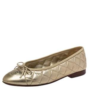 Chanel Gold Leather CC Cap Toe Ballet Flats Size 37