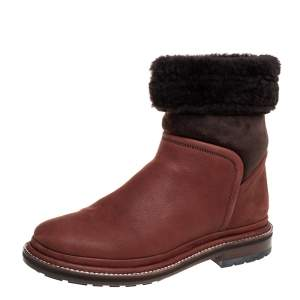 Chanel Brown Nubuck And Suede Shearling Boots Size 37.5