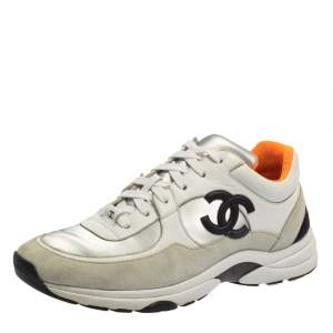 Chanel White Leather and Suede CC Lace Up Sneakers Size 41