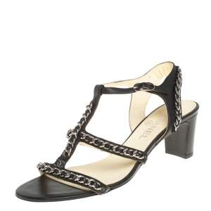 Chanel Black Leather Chain Embellished Sandals Size 40