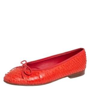 حذاء فلات باليه شانيل  سى سى جلد ثعبان أحمر مقاس 37