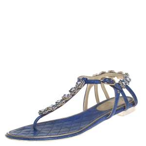 Chanel Blue Leather Floral Embellishment Flat Thong Sandals Size 37.5