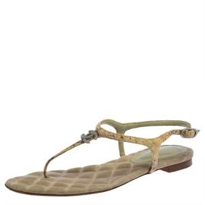 Chanel Yellow Leather Gold CC T Strap Thong Flats Size 37