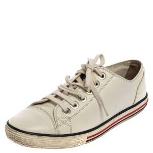 Chanel White Leather Cap Toe Lace Up Sneaker Size 37.5