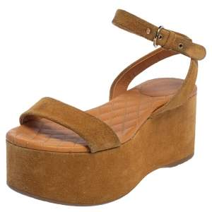Chanel Brown Suede Ankle Wrap Wedge Sandals Size 37