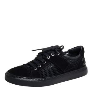 Chanel Black Suede And Mesh CC Low Top Sneakers Size 36.5