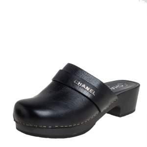 Chanel Black Leather Wooden Clog Mule Sandals Size 36
