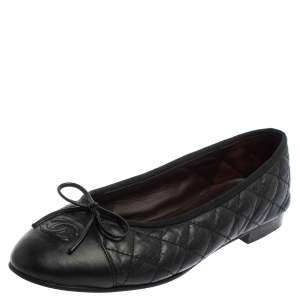 Chanel Black Quilted Leather CC Bow Cap Toe Ballet Flats Size 38.5