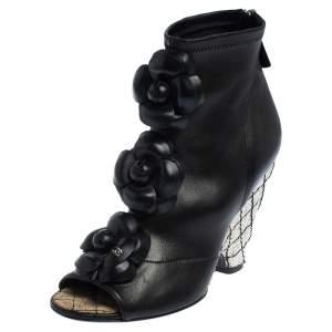 حذاء بوت كاحل شانيل سحاب جلد أسود مقاس 36