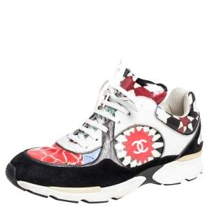 Chanel Multicolor Printed PVC and Suede CC Low Top Sneakers Size 40
