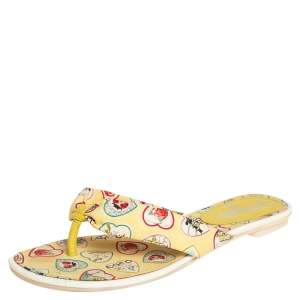 Chanel Yellow Hearts Printed Fabric Thong Sandals Size 40.5