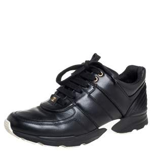 Chanel Leather And Satin Trim CC Low Top Sneakers Size 40