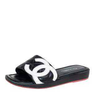 Chanel Black/White Leather CC Cambon Flat Slides Size 41.5