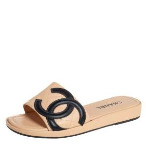Chanel Beige Leather CC Cambon Flat Slides Size 41.5