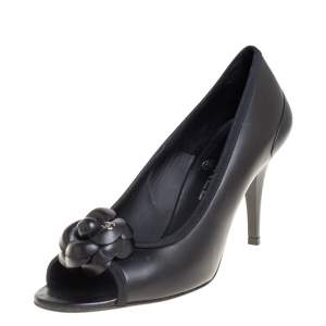 Chanel Black CC Camellia Leather Peep Toe Pumps Size 38.5