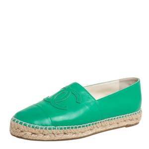 Chanel Green Leather CC Cap Toe Flat Espadrilles Size 38