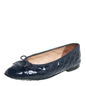 Chanel Blue Patent Leather CC Bow Ballet Flats Size 38.5