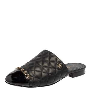 Chanel Black Quilted Leather Cap Toe Chain Mules Size 37