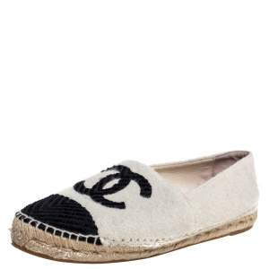 Chanel White/Black Wool And Velvet CC Espadrille Flats Size 40