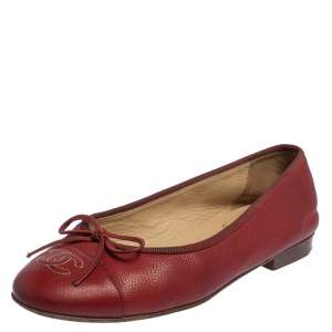Chanel Red Leather CC Bow Cap Toe Flats Size 36.5