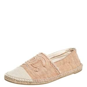 Chanel Beige CC Canvas Cap-Toe Flat Espadrille Size 39