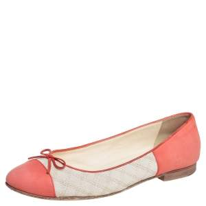 Chanel Pink/White Nubuck Leather And Canvas CC Cap Toe Bow Ballet Flats Size 41