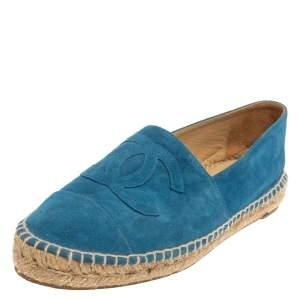 حذاء فلات إسبادريل شانيل مقدمة زرقاء مزين شعار الماركة سي سي سويدي أزرق مقاس 40