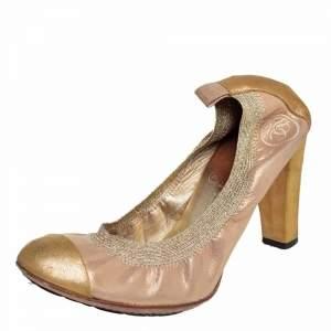 حذاء كعب عالي شانيل جلد نوبوك غليتر ذهبي وإلاستيك سي سي مقدمة منفصل مقاس 37