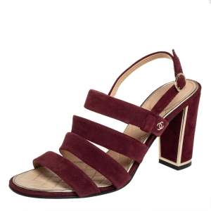 Chanel Burgundy Suede Strappy Sandals Size 39.5