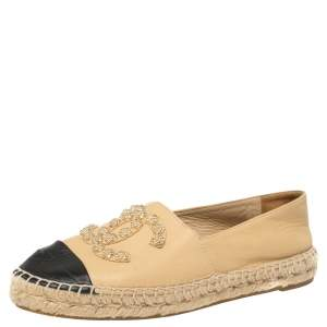 Chanel Beige Leather Camellia Studded Espadrilles Size 39