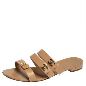 Chanel Beige CC Turnlock Leather Triple Strap Flat Sandals Size 40.5