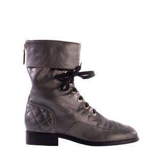 Chanel Metallic Grey Leather Combat Boots Size EU 36.5