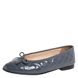 Chanel Grey Patent Leather CC Logo Ballet Flats Size 38.5