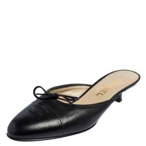Chanel Vintage Black Leather CC Cap Toe Mules Size 38