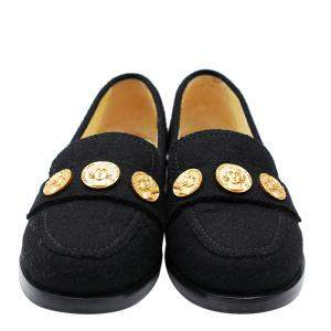 Chanel Black Tweed Coin Loafers Size 34.5