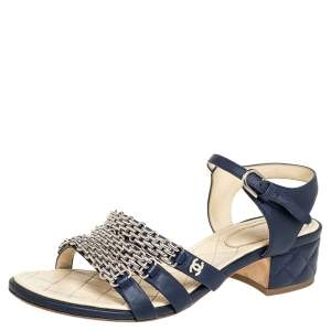 Chanel Navy Blue Leather Reissue Chain Detail Quilted Heel Ankle Strap Sandals Size 39