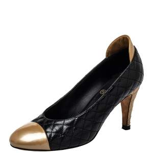 Chanel Black/Gold Quilted Leather And Patent Leather Cap Toe Pumps Size 37.5