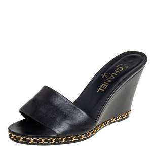 Chanel Black Leather CC Chain Detail Wedge Open Toe Sandals Size 39
