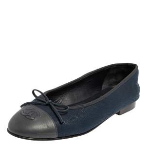 Chanel Blue/Grey Leather Bow CC Cap Toe Ballet Flats Size 38.5