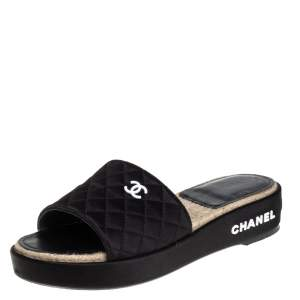 Chanel Black Satin CC Espadrille Slide Sandals Size 40