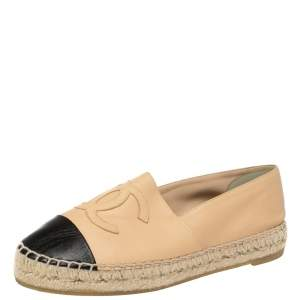 Chanel Beige/Black Leather CC Cap Toe Flat Espadrilles Size 36