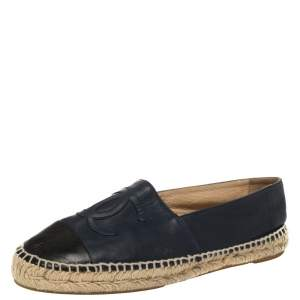 Chanel Blue And Black Leather CC Logo Espadrilles Size 40