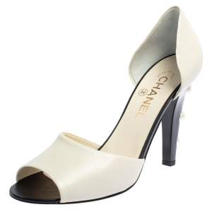 Chanel Off White Leather CC Pearl Embellished Heel D'orsay Peep Toe Pumps Size 39