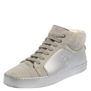 Chanel Grey/Silver Suede and Rubber CC High Top Sneakers Size 38.5