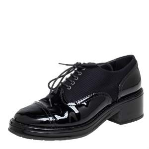 Chanel Black Patent Leather and Fabric Lace Up Block Heel Oxford Size 37