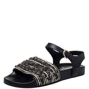 Chanel Black/White Leather And Woven Fabric Chain Embellished Ankle Strap Flat Sandals Size 39