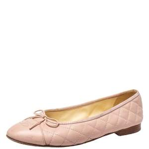 Chanel Pink Quilted Leather CC Bow Ballet Flats Size 39